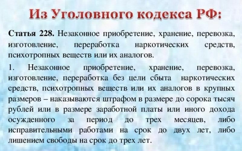 уголовный кодекс рф 228